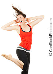 Fit beautiful woman doing aerobics - A happy, beautiful fit...