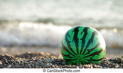 Ball Watermelon on Summer Beach - Kids ball painted like a...