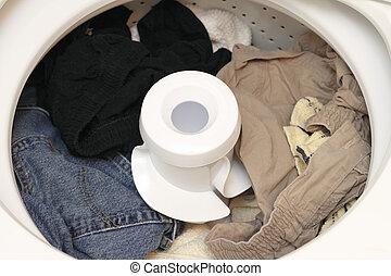 Washed Laundry - Damp washed laundry sitting in the washing...