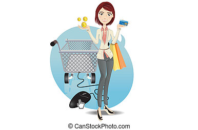 Online Shopping Girl - Illustration Of A Social Networking...
