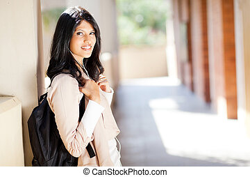 indian college student portrait by corridor - beautiful...