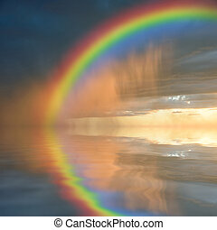 Colorful rainbow over water, thunderstorm with rain on...