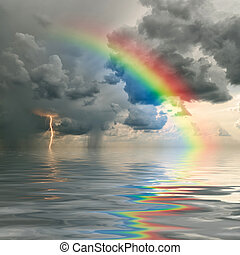 rainbow over ocean - Colorful rainbow over ocean,...