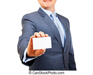 Heres my business card - Business person in suit holding out...
