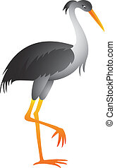 heron cartoon - Vector illustration of heron cartoon