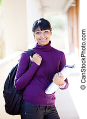 bonito, indianas, faculdade, menina, campus