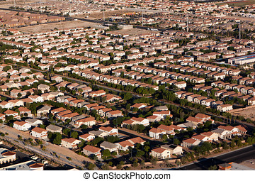 Suburban Neighborhood Las Vegas Aerial - Aerial View of Las...