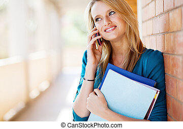 female college student talking on mobile phone - happy...