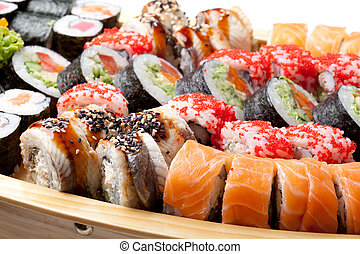 full plate of  sushi mix