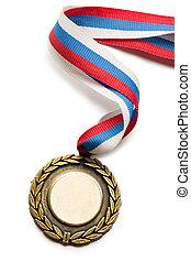 metal, medalha, tricolor, Fita