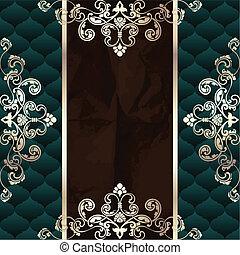 Dark green vintage banner - Elegant dark green banner...