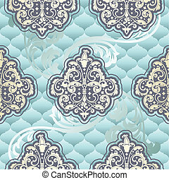 Seamless Rococo floral in blue - Seamless pattern inspired...