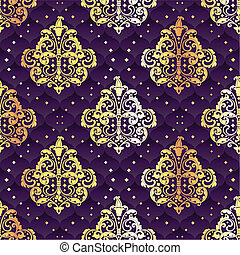 Gold and purple seamless floral