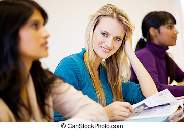 young university students in classroom - group of young...