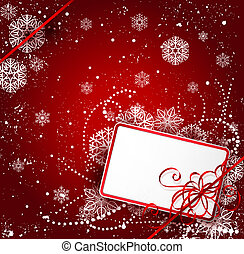 Christmas card and ribbon on background with  snowflakes
