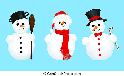 3 snowmen - set of 3 snowmen on blue background