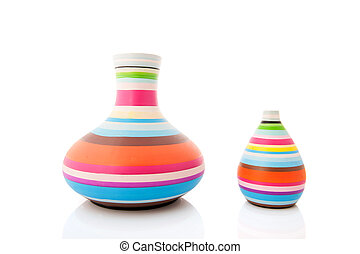 Modern vases - Modern colorful striped vases isolated over...