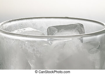 Waterless - Glass of ice cubes without water, close up.