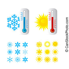 Thermometer Hot And Cold Temperature Also Sun and snowflakes...