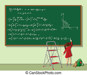 Girl solves the equation - Little girl writing long equation...