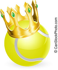 King of tennis concept, a tennis ball wearing a gold crown