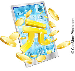 Yuan money phone concept illustration of mobile cell phone...