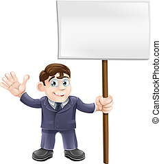 Businessman holding sign