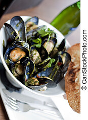 Mussels Seafood Dish - A restaurant style presentation of...