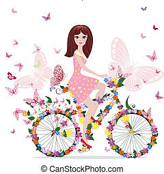 flower girl on bike