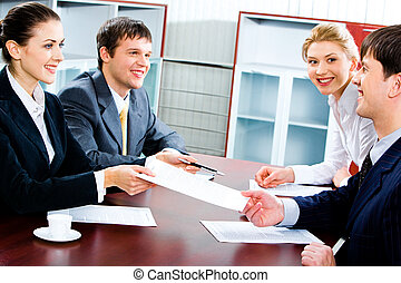 Business agreement - Portrait of several business partners...