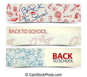 Back to School vector banners with drawings, doodles and...