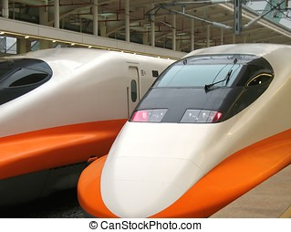 Modern High Speed Train Engine - -- a streamlined design of...