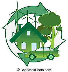 Green energy. - Illustration of green house, car, trees and...