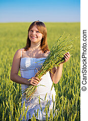 Portrait of a girl with ears - Beautiful girl in a field...