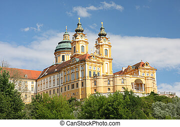 melk abbey - austria, danube valley - beginning of the...