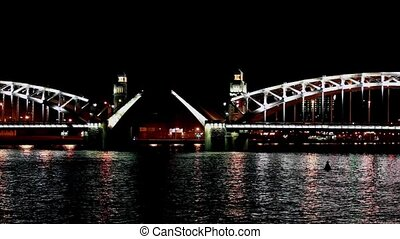 drawbridge at night  time lapse