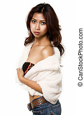 Woman in fur - Attractive young brunette Cambodian woman...