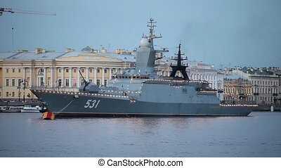 "Corvette - Russian Navy Corvette ""Soobrazitelny"" at anchor..."