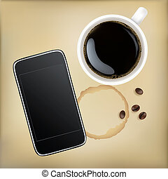 Cup Of Coffee With Mobile Phone