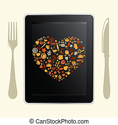 Tablet Computer And Food Icons