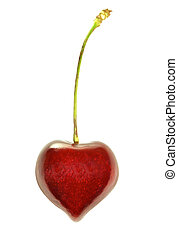 Heart-Shaped Cherry - heart shaped cherry isolated on white...