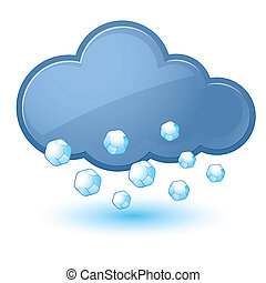 Cloud - Single weather icon - Cloud with Hail Illustration...