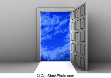 Enter to heaven - Open door from empty space to heaven.