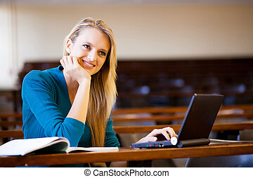 attractive college student in lecture hall
