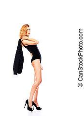 posing model - Shot of a beautiful woman in bikini Isolated...