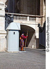 Swiss guard of catolic Vatican Rome Italy