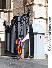 Swiss guard of catolic Vatican. Rome. Italy.