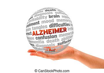 Alzheimer - Hand holding a Alzheimer Word Sphere on white...