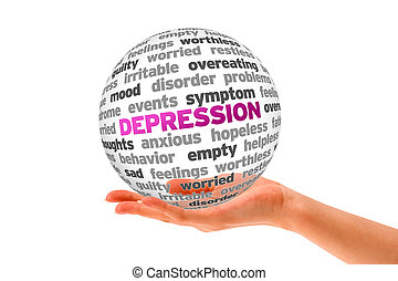Depression - Hand holding a Depression Word Sphere on white...