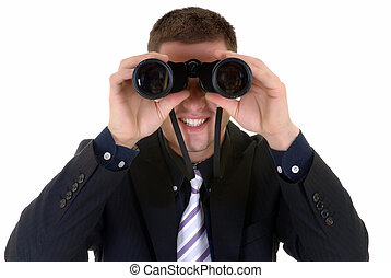 businessman with binoculars - Handsome young successful...